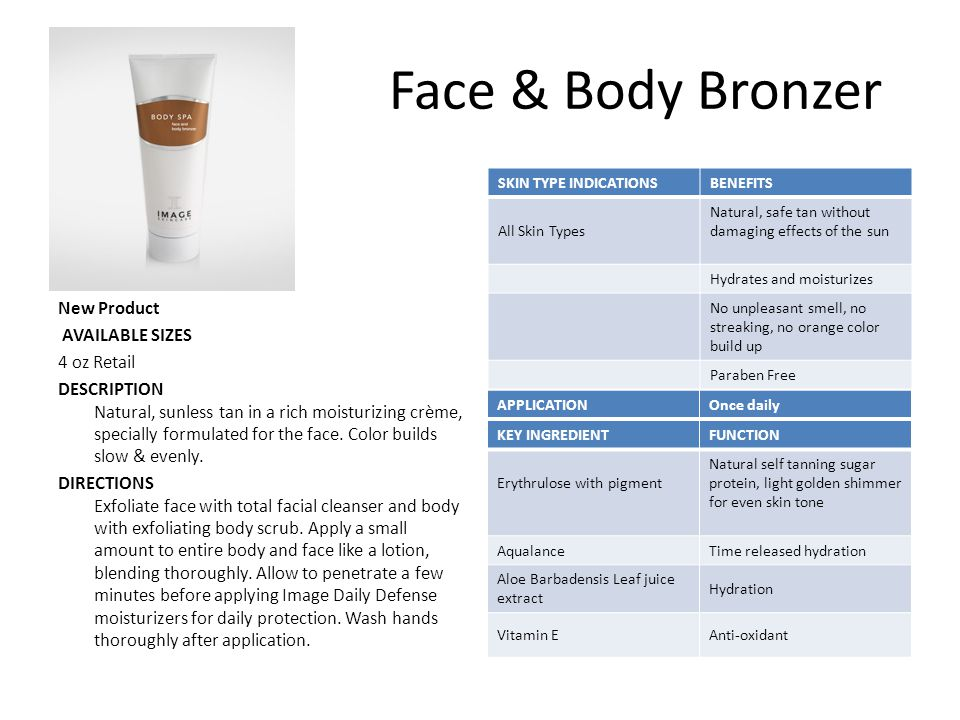 Face & Body Bronzer New Product AVAILABLE SIZES 4 oz Retail DESCRIPTION Natural, sunless tan in a rich moisturizing crème, specially formulated for the face.
