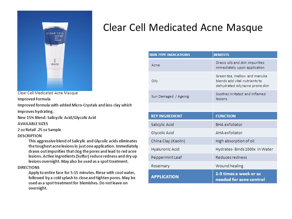 Clear Cell Medicated Acne Masque Improved Formula Improved formula with added Micro-Crystals and less clay which improves hydrating.