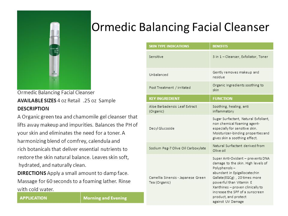 Ormedic Balancing Facial Cleanser AVAILABLE SIZES 4 oz Retail.25 oz Sample DESCRIPTION A Organic green tea and chamomile gel cleanser that lifts away makeup and impurities.