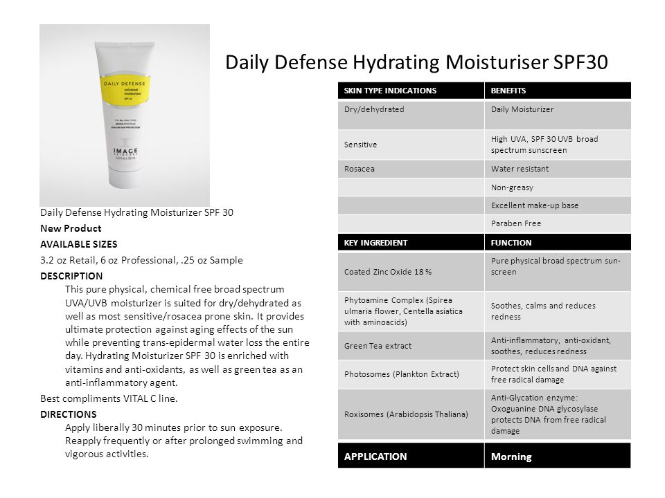 Daily Defense Hydrating Moisturiser SPF30 Daily Defense Hydrating Moisturizer SPF 30 New Product AVAILABLE SIZES 3.2 oz Retail, 6 oz Professional,.25 oz Sample DESCRIPTION This pure physical, chemical free broad spectrum UVA/UVB moisturizer is suited for dry/dehydrated as well as most sensitive/rosacea prone skin.