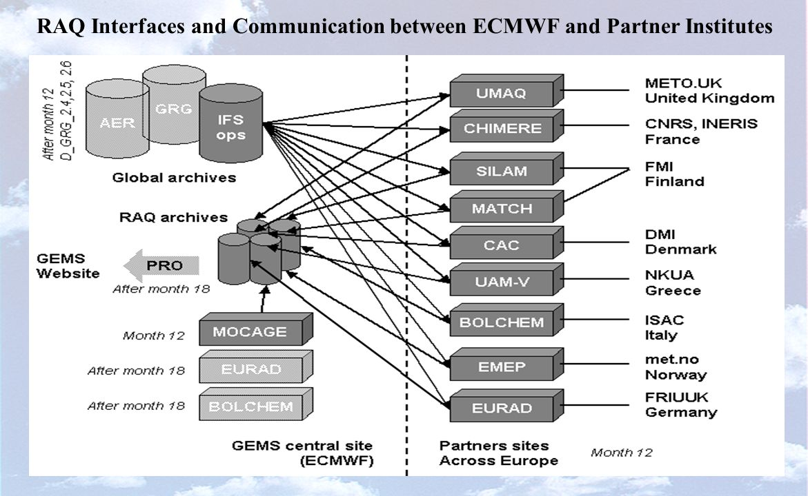 RAQ Interfaces and Communication between ECMWF and Partner Institutes