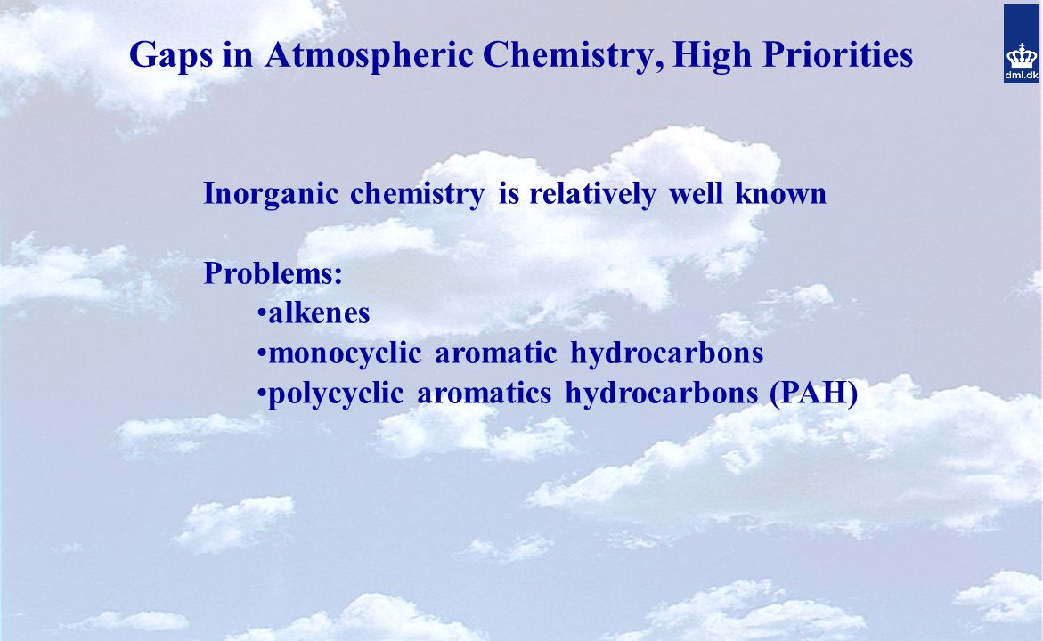 Gaps in Atmospheric Chemistry, High Priorities Inorganic chemistry is relatively well known Problems: alkenes monocyclic aromatic hydrocarbons polycyclic aromatics hydrocarbons (PAH)