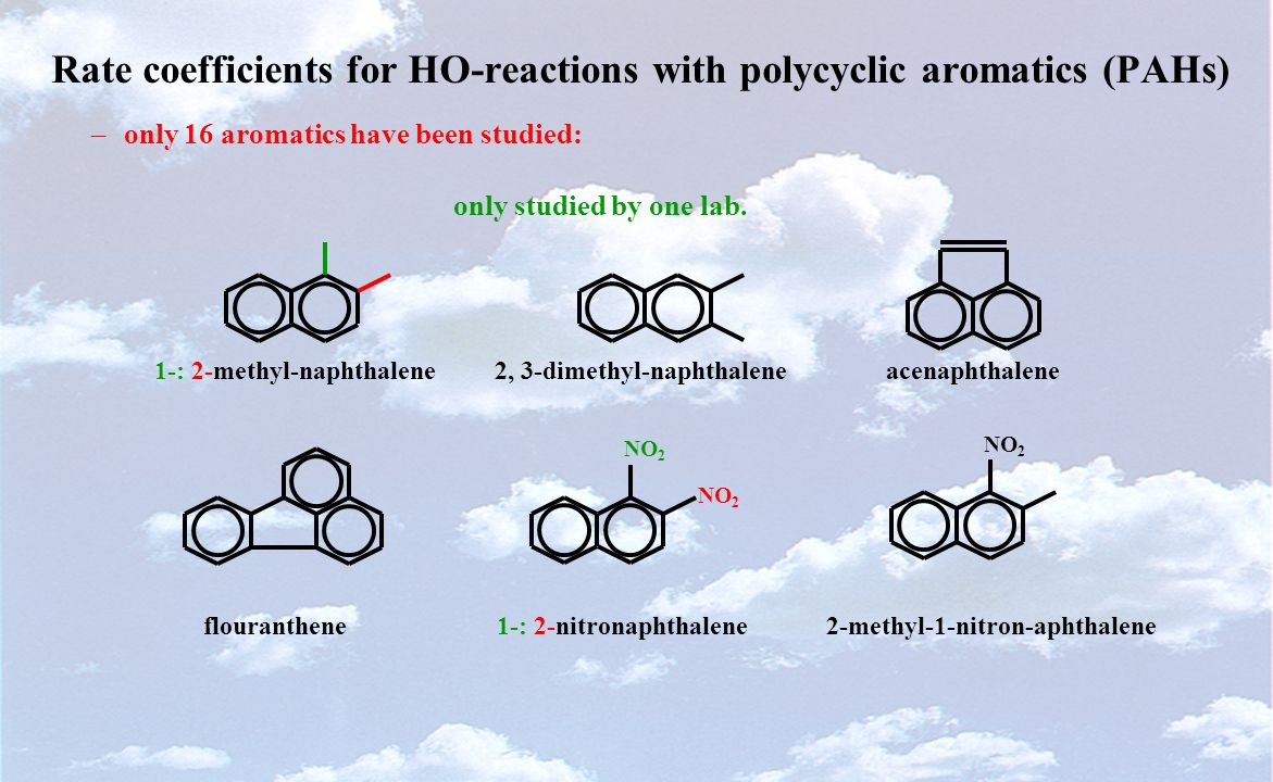 Rate coefficients for HO-reactions with polycyclic aromatics (PAHs) –only 16 aromatics have been studied: only studied by one lab.