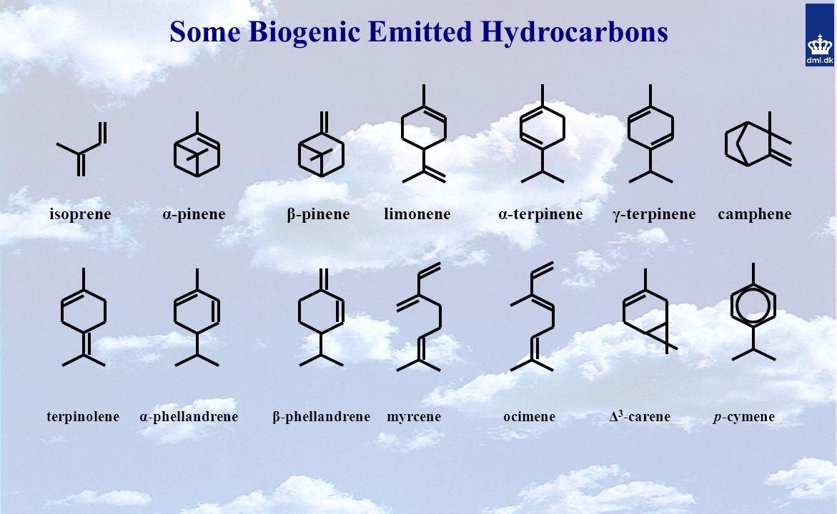 Some Biogenic Emitted Hydrocarbons isoprene α-pinene β-pinene limonene α-terpinene γ-terpinene camphene terpinolene α-phellandrene β-phellandrene myrcene ocimene Δ 3 -carene p-cymene