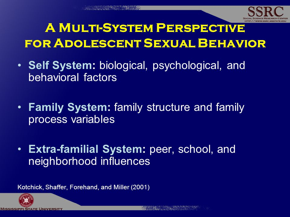 A Multi-System Perspective for Adolescent Sexual Behavior Self System: biological, psychological, and behavioral factors Family System: family structure and family process variables Extra-familial System: peer, school, and neighborhood influences Kotchick, Shaffer, Forehand, and Miller (2001)