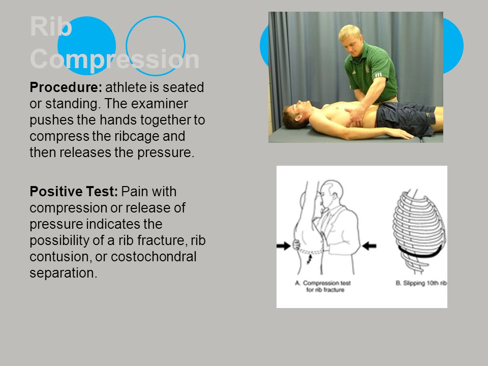Rib Compression Procedure: athlete is seated or standing. The examiner pushes the hands together to compress the ribcage and then releases the pressur