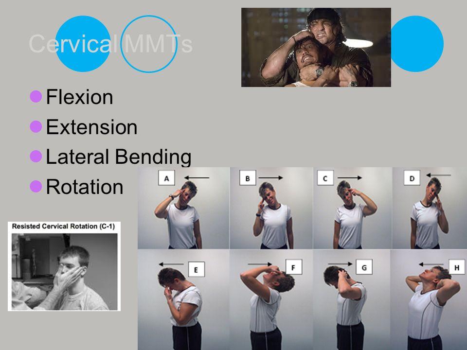 Cervical MMTs Flexion Extension Lateral Bending Rotation