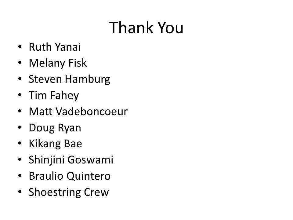 Thank You Ruth Yanai Melany Fisk Steven Hamburg Tim Fahey Matt Vadeboncoeur Doug Ryan Kikang Bae Shinjini Goswami Braulio Quintero Shoestring Crew