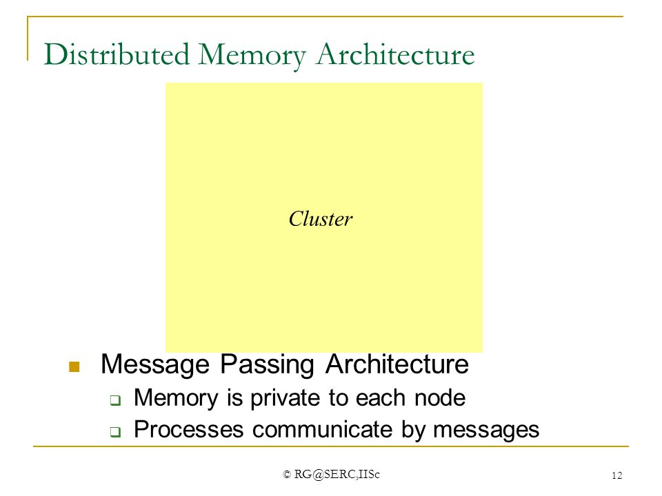 © RG@SERC,IISc 12 Distributed Memory Architecture Network M $ P  M $ P M $ P Message Passing Architecture  Memory is private to each node  Proc