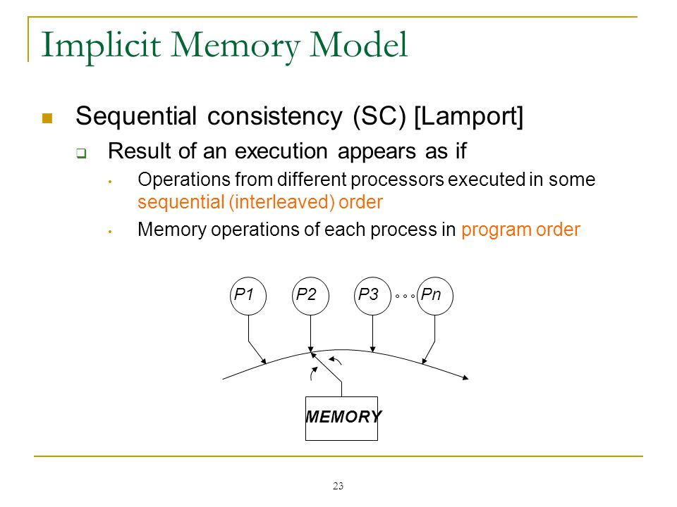 23 Implicit Memory Model Sequential consistency (SC) [Lamport]  Result of an execution appears as if Operations from different processors executed in