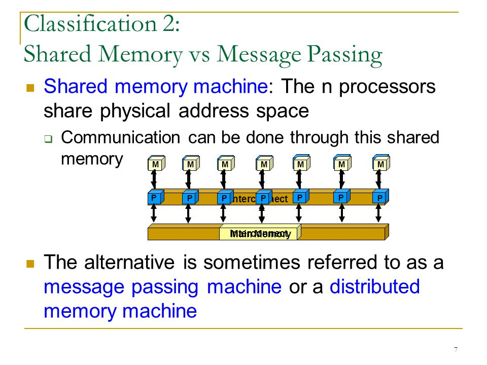 7 Classification 2: Shared Memory vs Message Passing Shared memory machine: The n processors share physical address space  Communication can be done