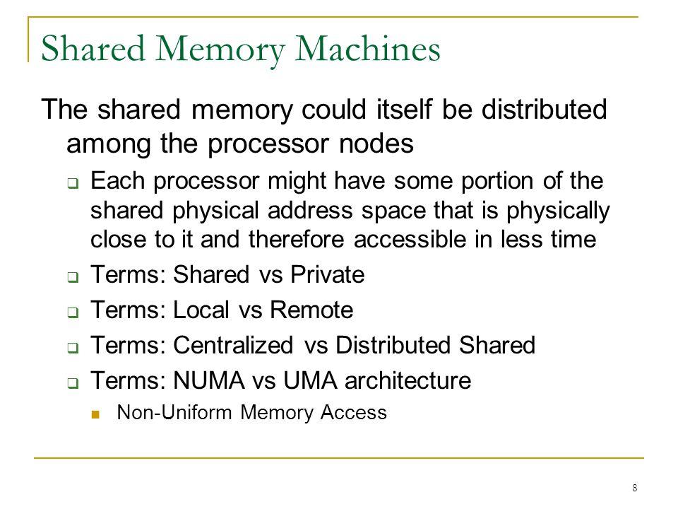 © RG@SERC,IISc 9 M Network  Centralized Shared Memory Uniform Memory Access (UMA) M M $ P $ P $ P  Network Distributed Shared Memory Non-Uniform Memory Access (NUMA) M $ P M $ P  Shared Memory Architecture