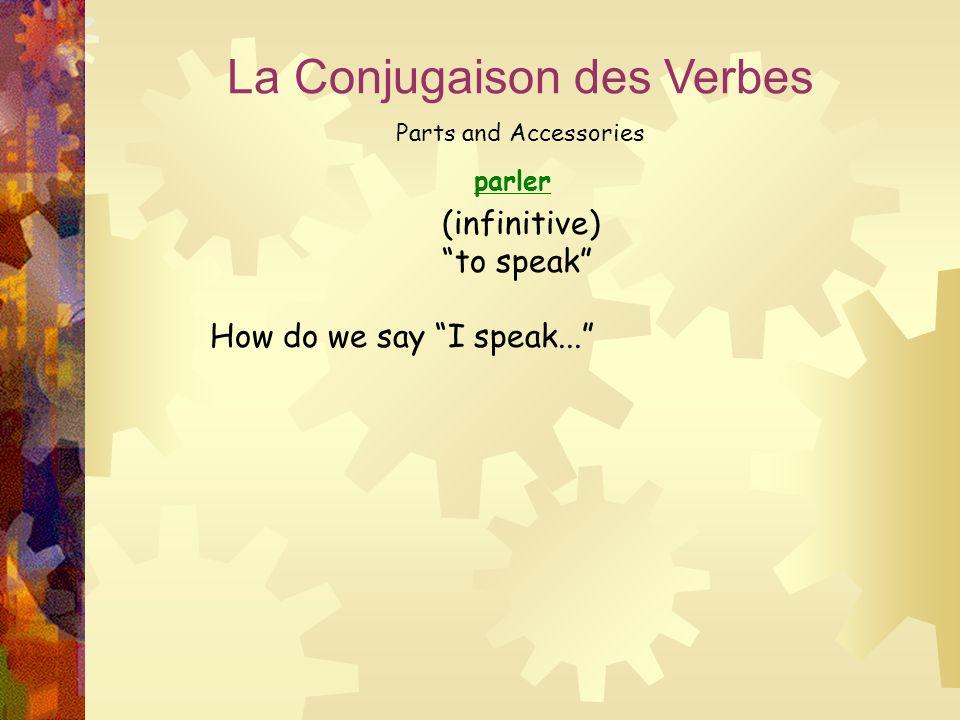"parler La Conjugaison des Verbes Parts and Accessories (infinitive) ""to speak"" How do we say ""I speak..."""