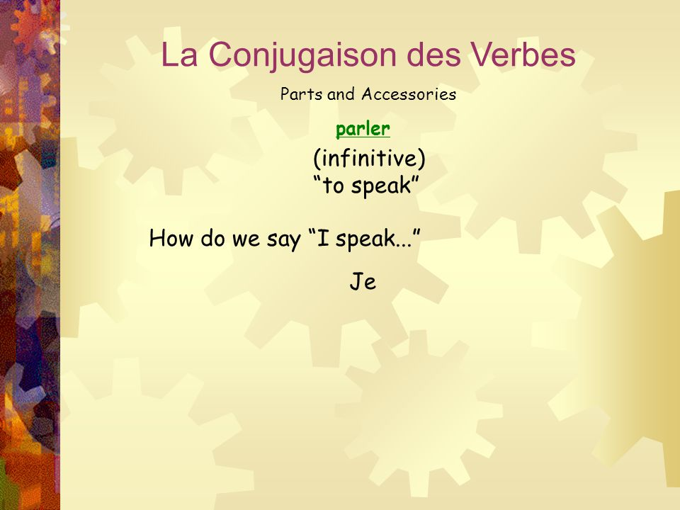 "parler La Conjugaison des Verbes Parts and Accessories (infinitive) ""to speak"" How do we say ""I speak..."" Je"