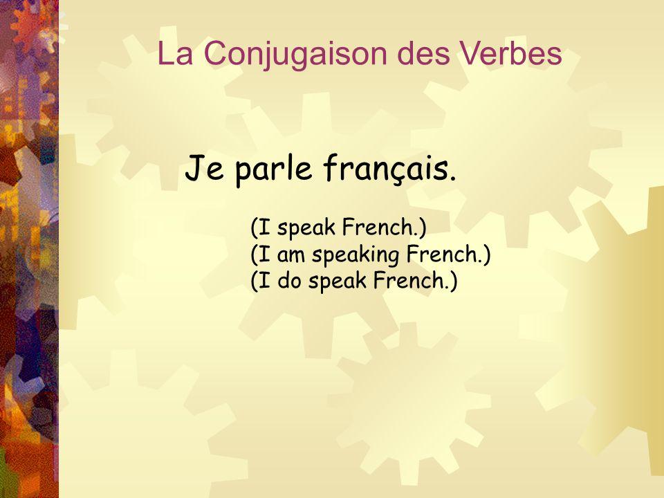 La Conjugaison des Verbes Je parle français. (I speak French.) (I am speaking French.) (I do speak French.)