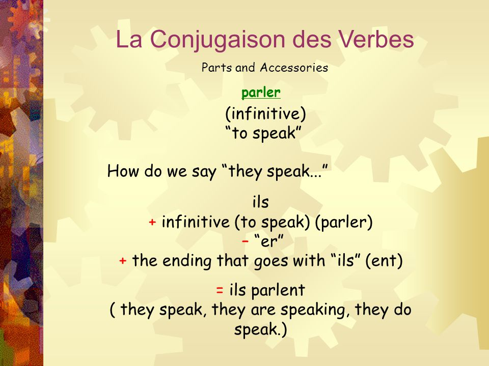"""parler La Conjugaison des Verbes Parts and Accessories (infinitive) """"to speak"""" How do we say """"they speak..."""" ils + infinitive (to speak) (parler) – """"e"""