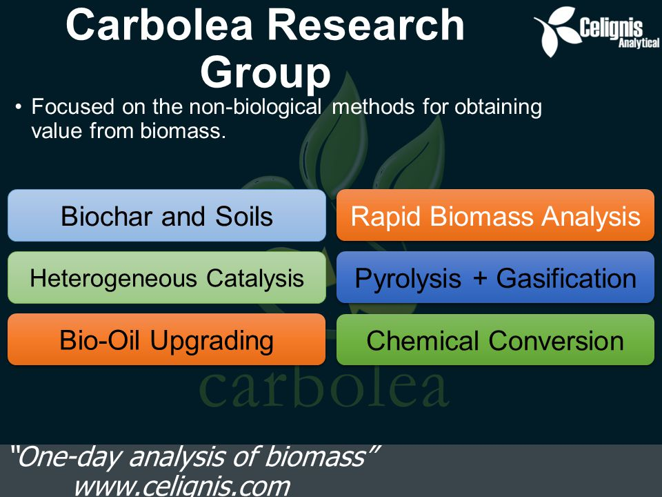 Models for Miscanthus One-day analysis of biomass www.celignis.com DSWUDSWUDSWU Cross Validation 0.966 0.955 0.9570.8610.9570.917 RMSECV 0.9141.082 0.4260.7760.5780.806 RER (CV) 22.9119.35 27.9715.3719.9714.32 Independent Validation 0.9680.9310.9480.9290.9750.958 RMSEP 0.8621.2660.4570.5320.4810.598 RER 23.8116.2020.0517.0518.4915.75 GlucanXylan Klason Lignin