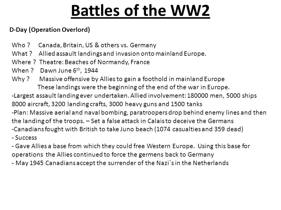 Battles of the WW2 D-Day (Operation Overlord) Who .