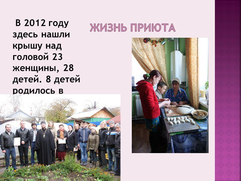 В 2012 году здесь нашли крышу над головой 23 женщины, 28 детей. 8 детей родилось в приюте за год