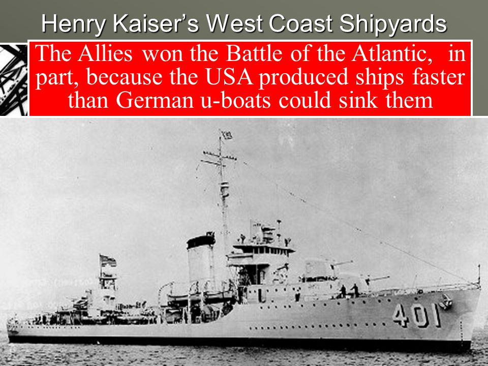 Henry Kaiser's West Coast Shipyards The Allies won the Battle of the Atlantic, in part, because the USA produced ships faster than German u-boats could sink them Kaiser standardized battleship building & reduced the time it took to make a battleship from 355 days to 14 days