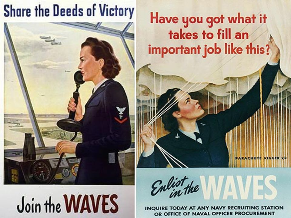 Women's Army Air Corps Pilots Join the Women's Army Corps (WACs) Women Accepted for Volunteer Emergency Service (WAVES)