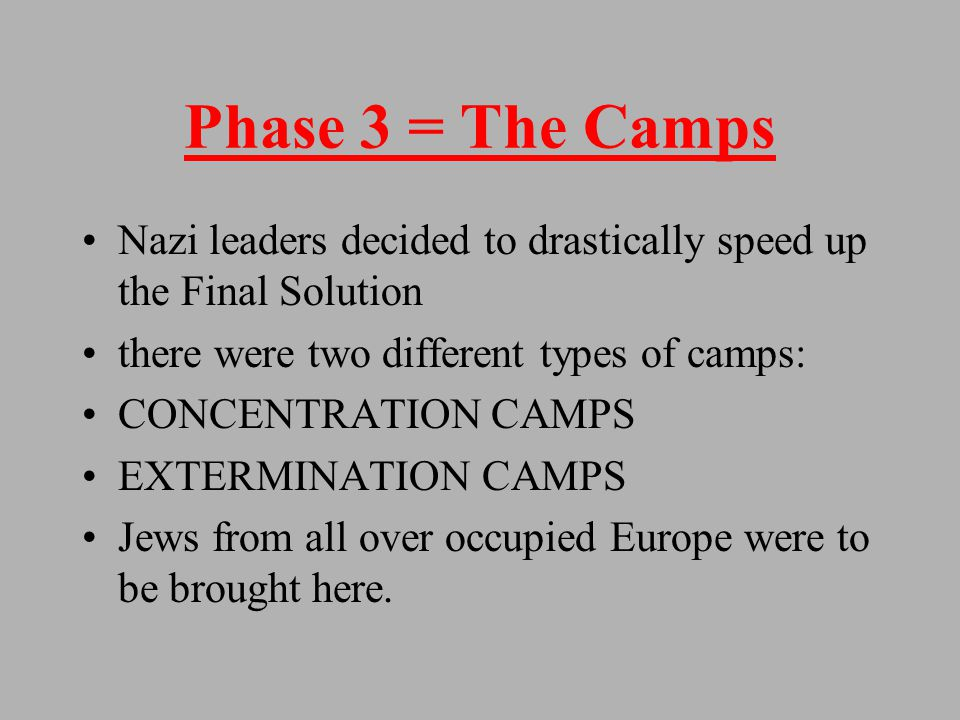 Problems with Phases 1,2 The Nazis encountered several problems with the executions and gas vans First, they were both taking to much time Second, resources such as gas and munitions were becoming scarce Third, soldiers involved were beginning to have psychological problems with what they were doing.
