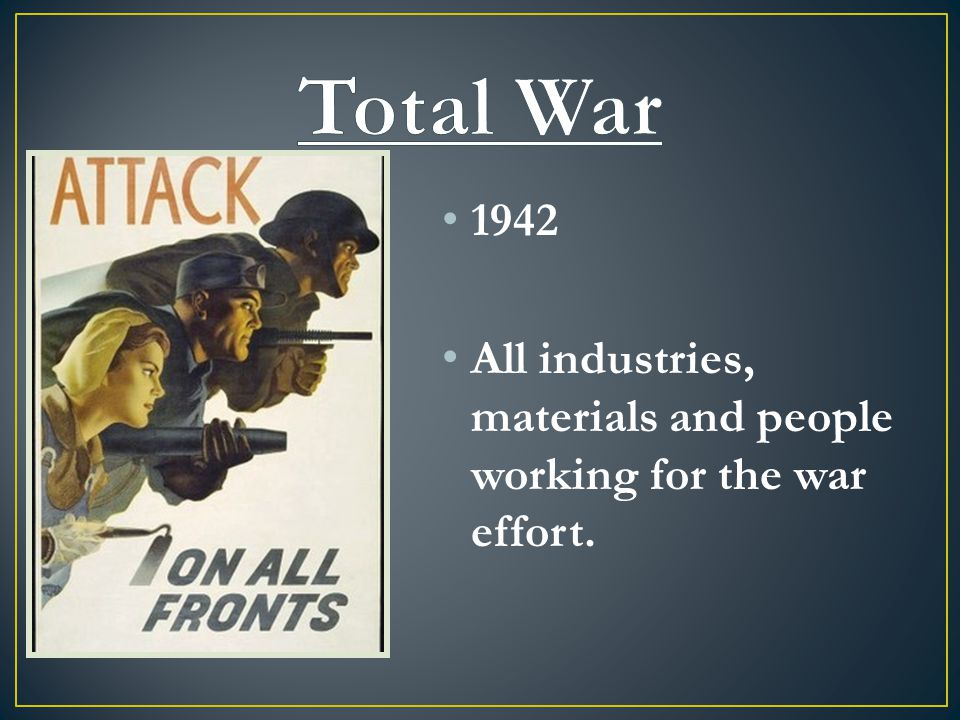 1942 All industries, materials and people working for the war effort.