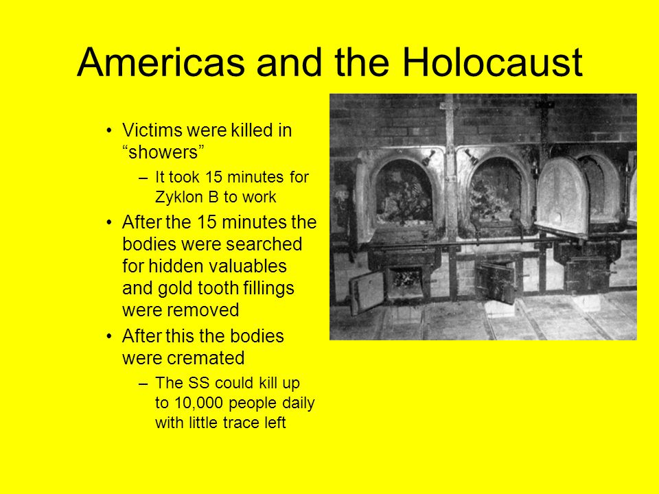 """Americas and the Holocaust Victims were killed in """"showers"""" –It took 15 minutes for Zyklon B to work After the 15 minutes the bodies were searched for"""