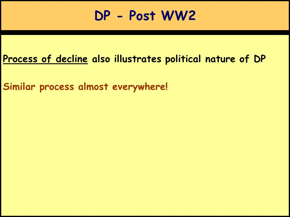 DP - Post WW2 Process of decline also illustrates political nature of DP Similar process almost everywhere!
