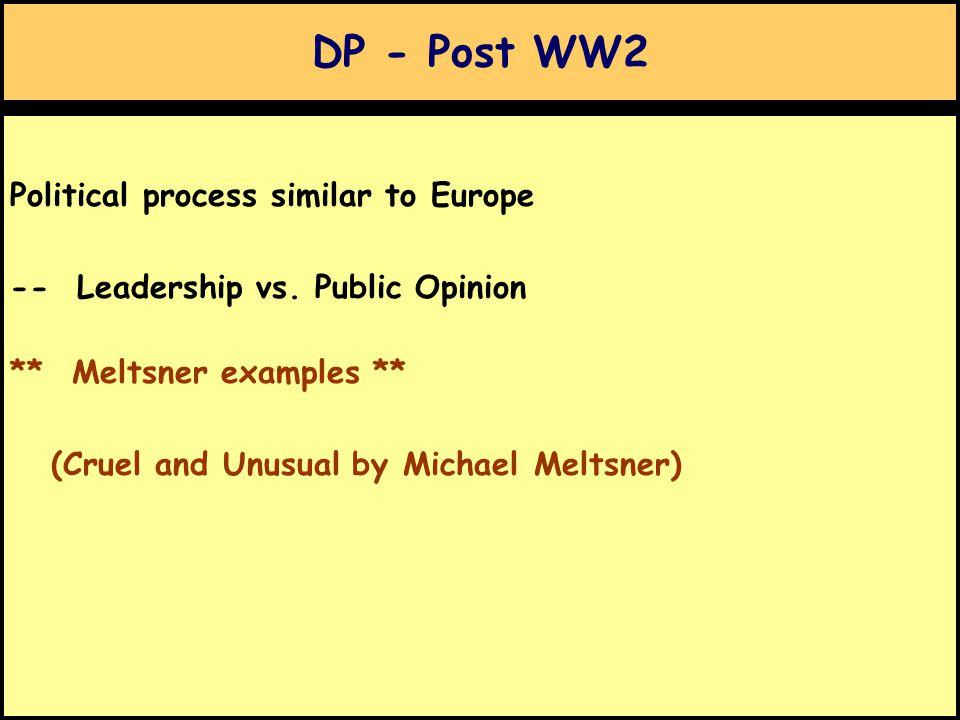 DP - Post WW2 Political process similar to Europe -- Leadership vs.