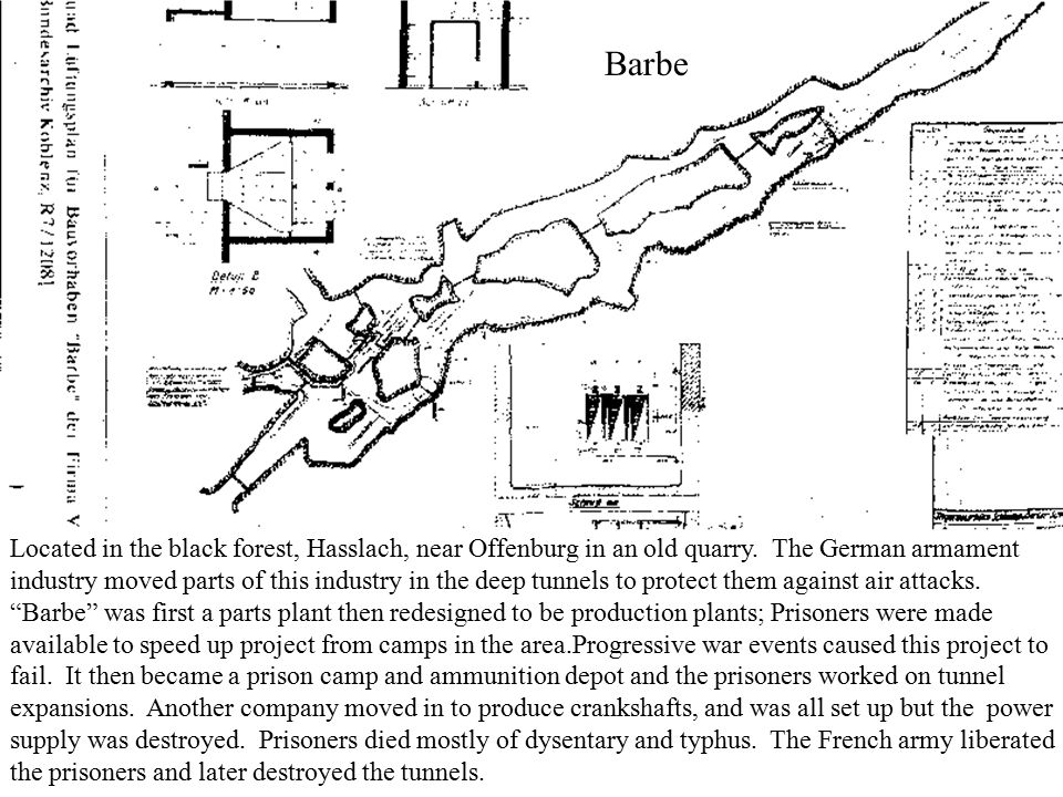 Barbe Located in the black forest, Hasslach, near Offenburg in an old quarry. The German armament industry moved parts of this industry in the deep tu