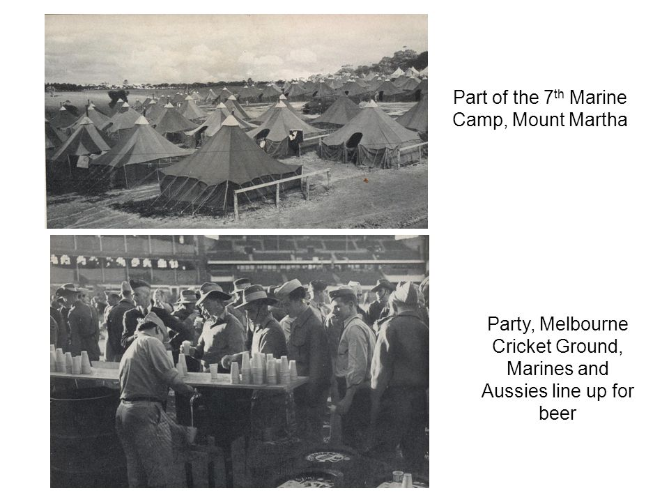 Part of the 7 th Marine Camp, Mount Martha Party, Melbourne Cricket Ground, Marines and Aussies line up for beer