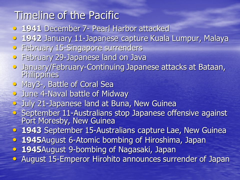 Timeline of the Pacific 1941 December 7- Pearl Harbor attacked 1941 December 7- Pearl Harbor attacked 1942 January 11-Japanese capture Kuala Lumpur, Malaya 1942 January 11-Japanese capture Kuala Lumpur, Malaya February 15-Singapore surrenders February 15-Singapore surrenders February 29-Japanese land on Java February 29-Japanese land on Java January/February-Continuing Japanese attacks at Bataan, Philippines January/February-Continuing Japanese attacks at Bataan, Philippines May3-, Battle of Coral Sea May3-, Battle of Coral Sea June 4-Naval battle of Midway June 4-Naval battle of Midway July 21-Japanese land at Buna, New Guinea July 21-Japanese land at Buna, New Guinea September 11-Australians stop Japanese offensive against Port Moresby, New Guinea September 11-Australians stop Japanese offensive against Port Moresby, New Guinea 1943 September 15-Australians capture Lae, New Guinea 1943 September 15-Australians capture Lae, New Guinea 1945August 6-Atomic bombing of Hiroshima, Japan 1945August 6-Atomic bombing of Hiroshima, Japan 1945August 9-bombing of Nagasaki, Japan 1945August 9-bombing of Nagasaki, Japan August 15-Emperor Hirohito announces surrender of Japan August 15-Emperor Hirohito announces surrender of Japan