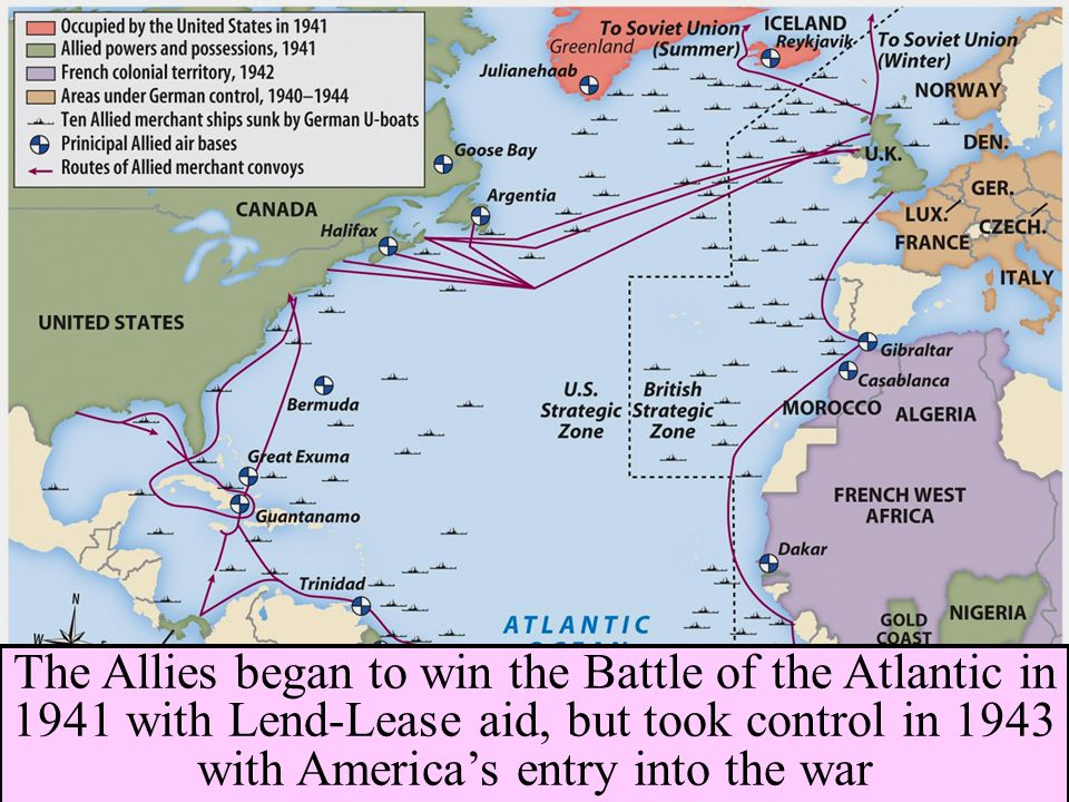 The Allies began to win the Battle of the Atlantic in 1941 with Lend-Lease aid, but took control in 1943 with America's entry into the war