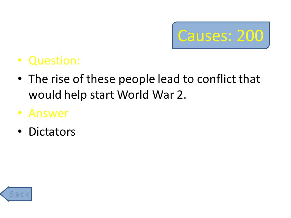 Causes: 200 Question: The rise of these people lead to conflict that would help start World War 2.