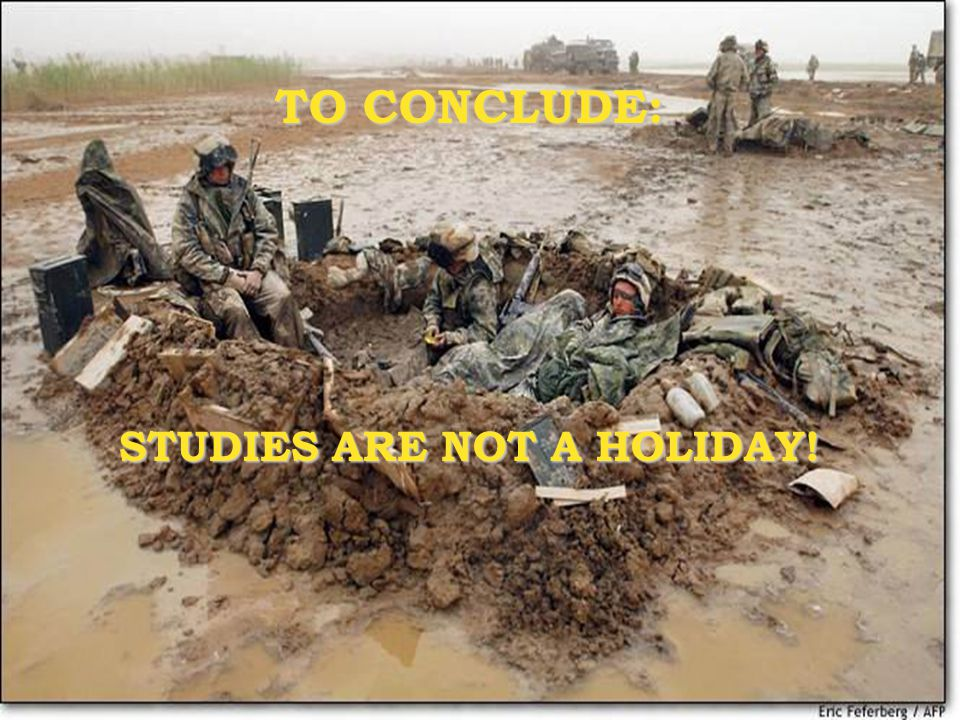 TO CONCLUDE: STUDIES ARE NOT A HOLIDAY!
