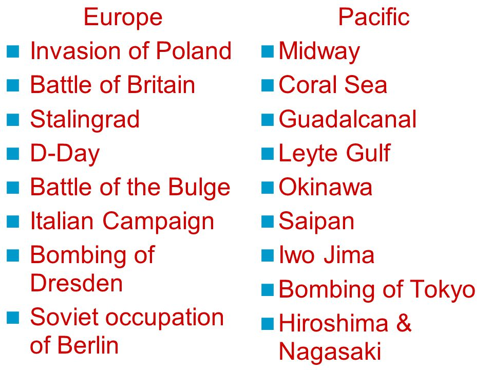Europe Invasion of Poland Battle of Britain Stalingrad D-Day Battle of the Bulge Italian Campaign Bombing of Dresden Soviet occupation of Berlin Pacific Midway Coral Sea Guadalcanal Leyte Gulf Okinawa Saipan Iwo Jima Bombing of Tokyo Hiroshima & Nagasaki