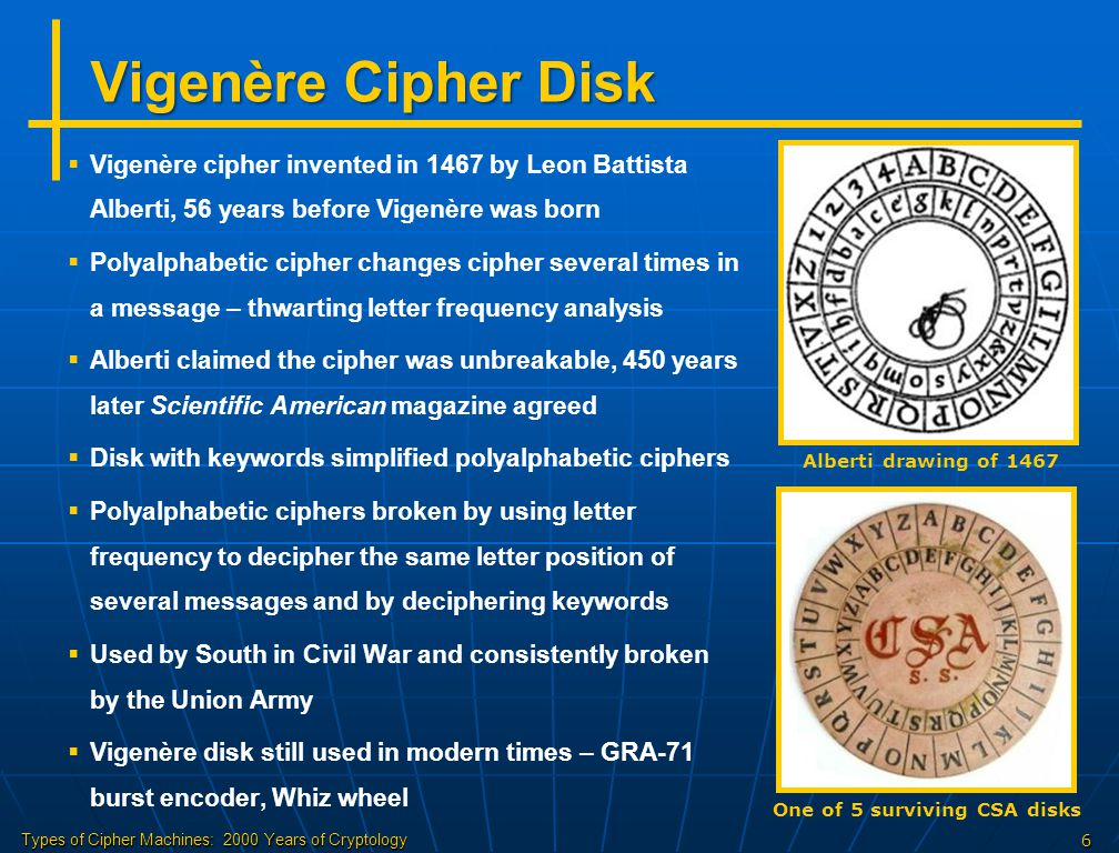 Types of Cipher Machines: 2000 Years of Cryptology7 Code Books   Ciphers change message by each letter, codes change whole words or phrases   Code books were in widespread use for centuries – until WW2   Codes also saved money in telegraph costs   Usually, codes were combined with other ciphers   Code books of up to 100,000 codes are often kept for years Example from 1888 code book  If code book is compromised, sending out new code books is very cumbersome and risky  US spies copied Japanese code book before WW2
