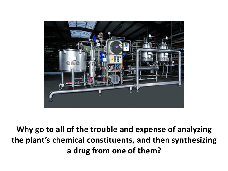 Why go to all of the trouble and expense of analyzing the plant's chemical constituents, and then synthesizing a drug from one of them?