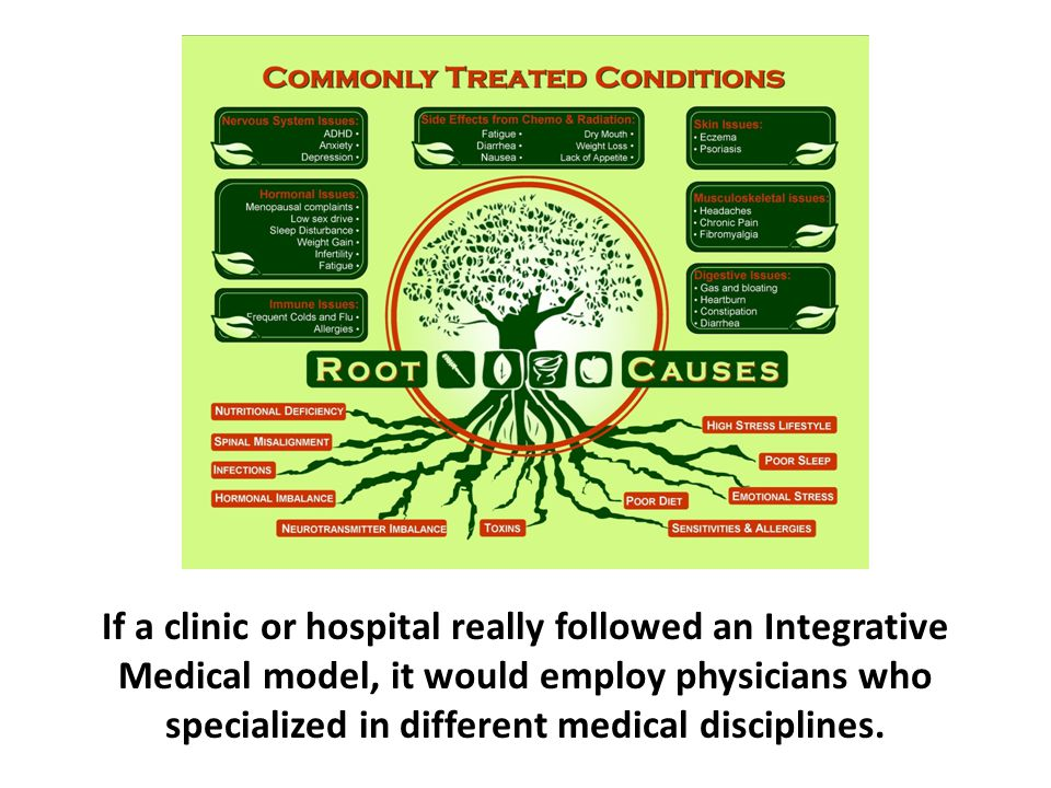 If a clinic or hospital really followed an Integrative Medical model, it would employ physicians who specialized in different medical disciplines.