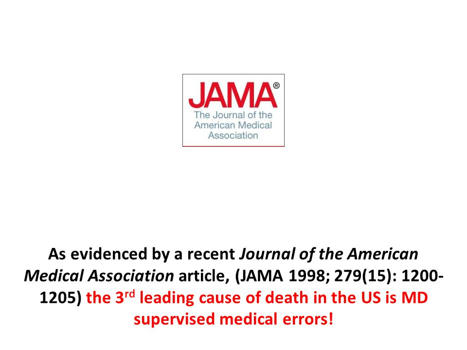 As evidenced by a recent Journal of the American Medical Association article, (JAMA 1998; 279(15): 1200- 1205) the 3 rd leading cause of death in the