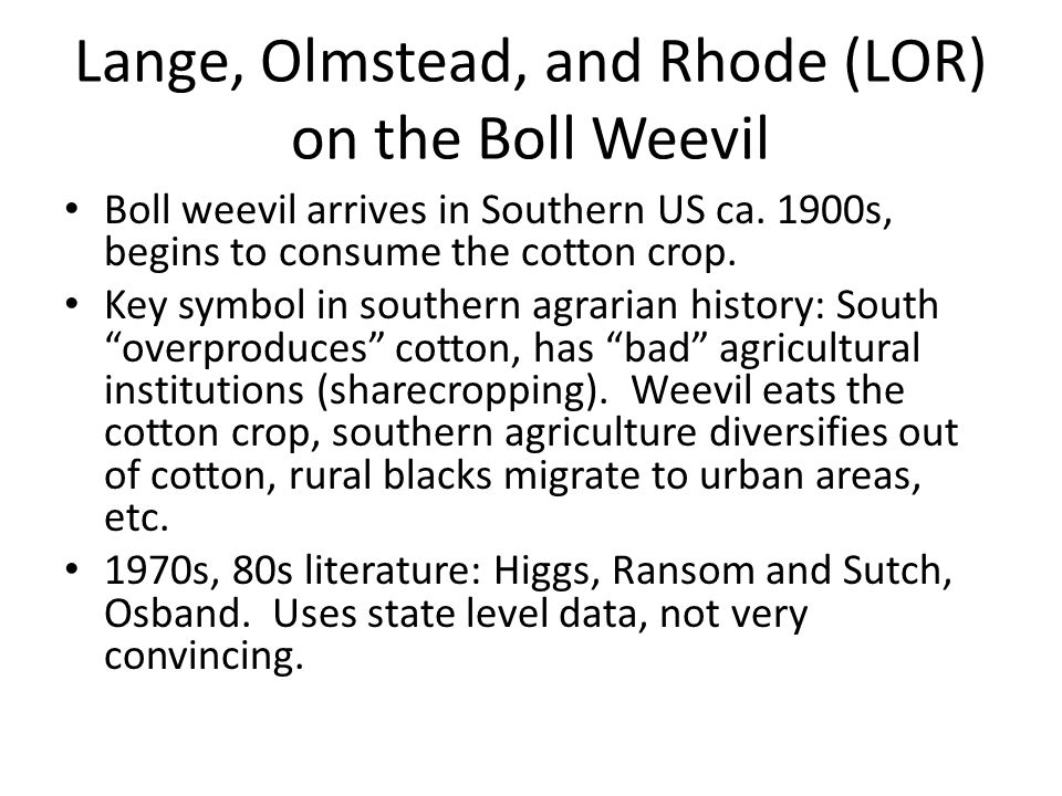Lange, Olmstead, and Rhode (LOR) on the Boll Weevil Boll weevil arrives in Southern US ca. 1900s, begins to consume the cotton crop. Key symbol in sou