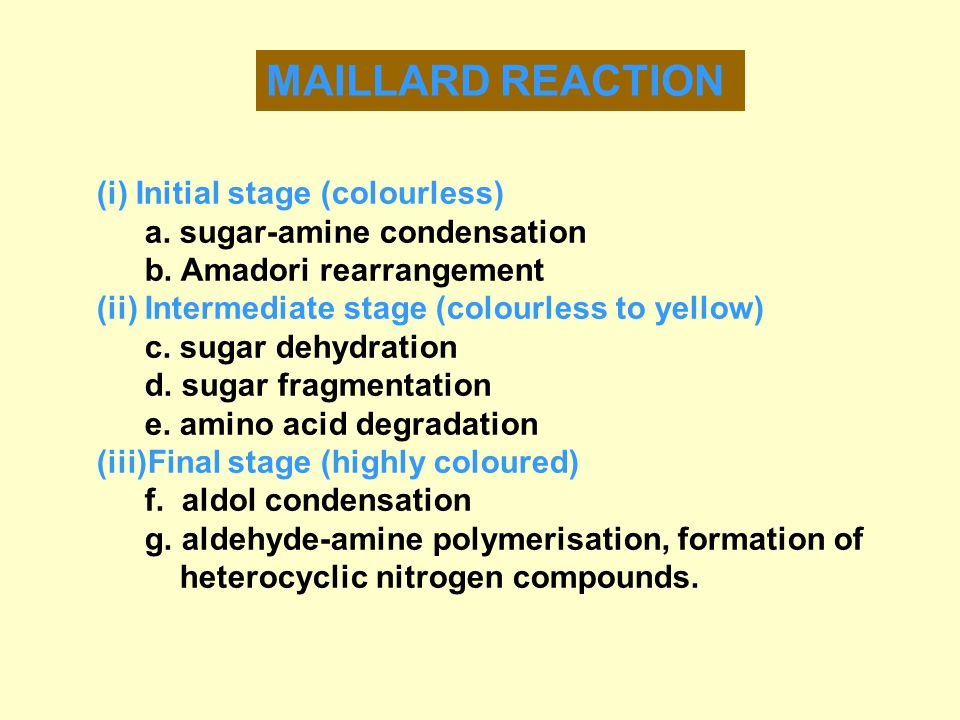 MAILLARD REACTION (i) Initial stage (colourless) a.