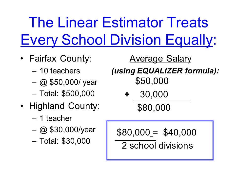 The Linear Estimator Treats Every School Division Equally: Fairfax County: –10 teachers $50,000/ year –Total: $500,000 Highland County: –1 teacher $30,000/year –Total: $30,000 Average Salary (using EQUALIZER formula): $50, ,000 $80,000 $80,000 = $40,000 2 school divisions