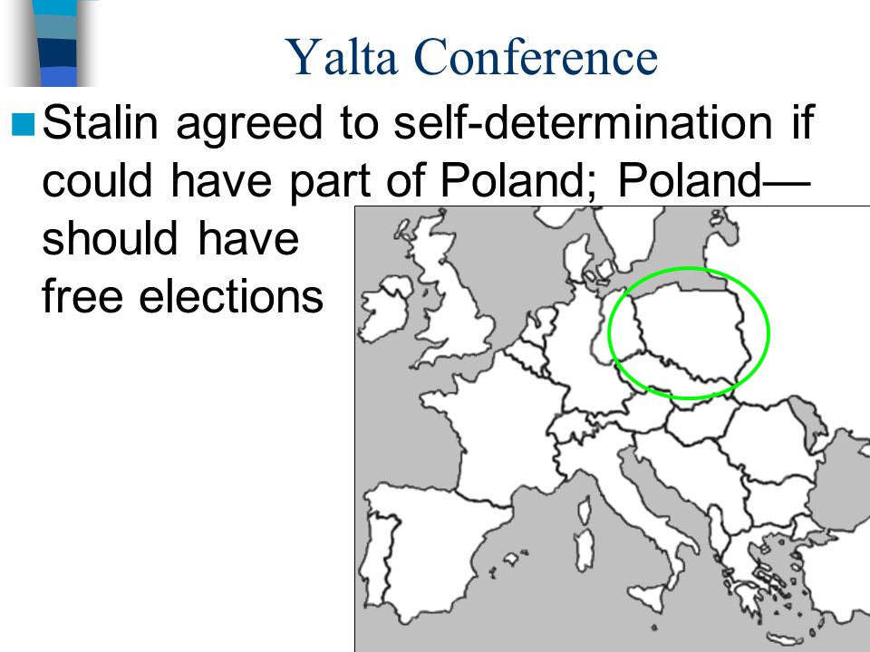 Yalta Conference Stalin agreed to self-determination if could have part of Poland; Poland— should have free elections