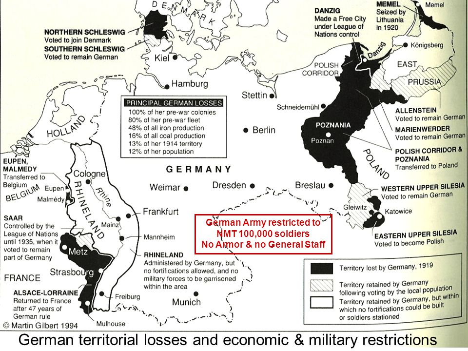 German territorial losses and economic & military restrictions German Army restricted to NMT 100,000 soldiers No Armor & no General Staff