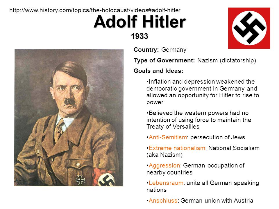 Adolf Hitler 1933 Country: Germany Type of Government: Nazism (dictatorship) Goals and Ideas: Inflation and depression weakened the democratic governm