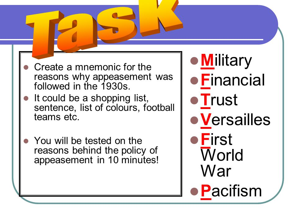 Create a mnemonic for the reasons why appeasement was followed in the 1930s.