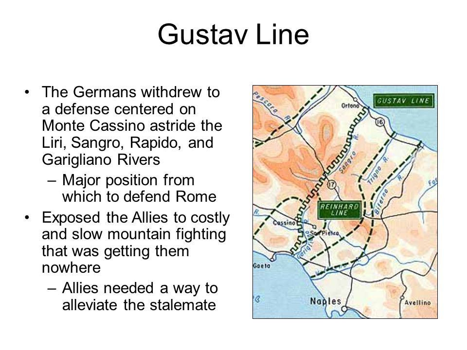 Gustav Line The Germans withdrew to a defense centered on Monte Cassino astride the Liri, Sangro, Rapido, and Garigliano Rivers –Major position from w