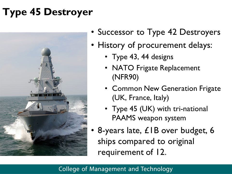 Type 45 Destroyer Successor to Type 42 Destroyers History of procurement delays: Type 43, 44 designs NATO Frigate Replacement (NFR90) Common New Gener